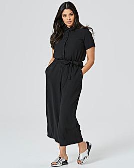 Black Shirt Culotte Jumpsuit