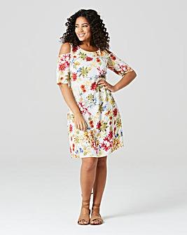 Ivory Floral Cut Out Shoulder Dress