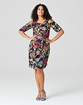 Navy Floral Cut Out Shoulder Dress