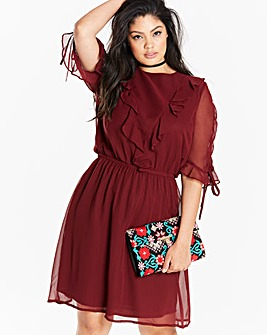 Ruched Ruffle Day Dress