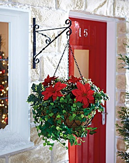 Poinsettia Christmas Hanging Basket