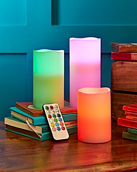 Set of 3 Colour Changing Wax Candle
