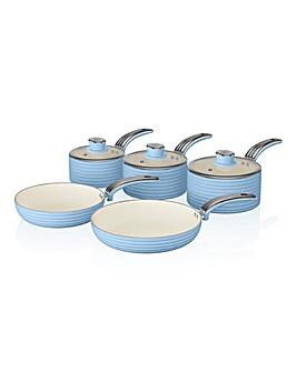 Swan Retro 5 Piece Pan Set Blue