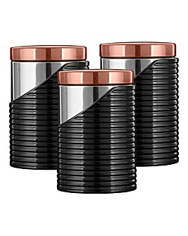 Tower Linear Set Of 3 Canisters Rose