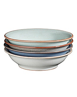 Denby Blues 4 Piece Shallow Bowl Set