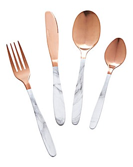 16 Piece Marble Effect Cutlery Set