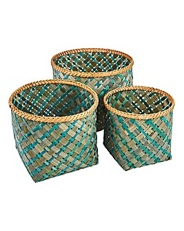 Set of 3 Bamboo Green Geo Baskets