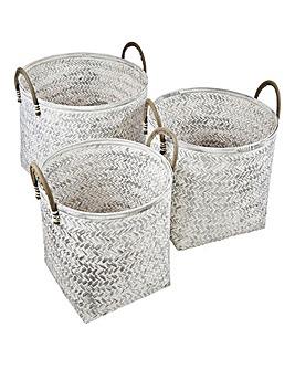 Set of 3 White Round Storage Baskets