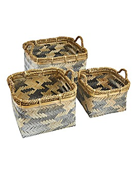 Set of 3 Bronze Geo Bamboo Baskets