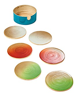 Set of 6 Ombre Bamboo Coasters