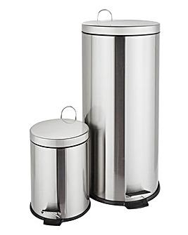 Stainless Steel Fingerproof 30L + 5L Bin