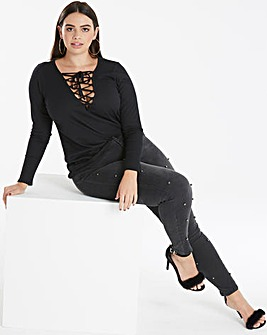 Rib Lace Up Top