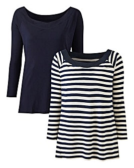 Pack of 2 Bardot Tops