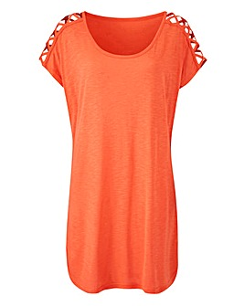 Short Sleeve Strappy Cold Shoulder Tunic