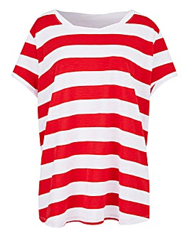 Petite Block Stripe Cotton Slub T-shirt