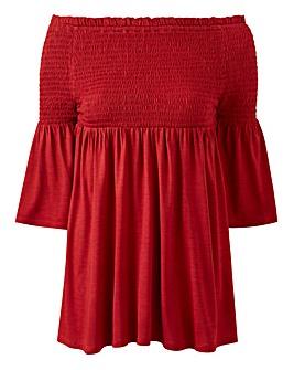 Petite Shirred Detail Bardot Top