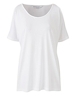 Petite White Cold Shoulder Top