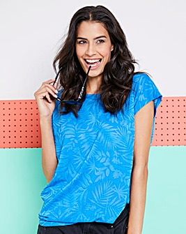 Blue Palm Print Burnout T-Shirt