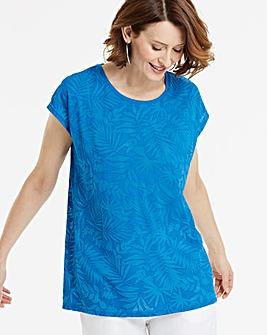 Blue Palm Print Burnout T-Shirt