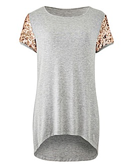 Sequin Sleeve T-Shirt