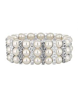Lipsy Pearl And Crystal Bar Bracelet