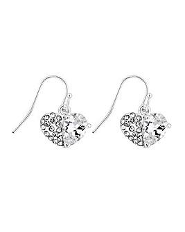 Lipsy Crystal Pave Heart Earrings