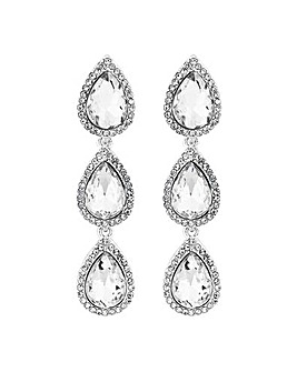 Lipsy Linear Crystal Pear Drop Earrings