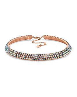 Lipsy Rainbow Crystal Collar Necklace