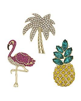 Mood Crystal Tropical Brooch Set