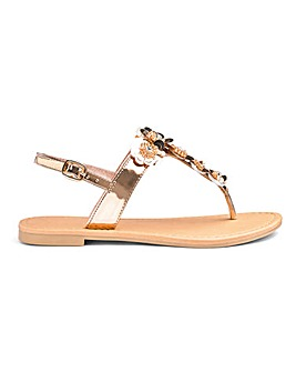Lilli Flower Trim Sandals Wide Fit