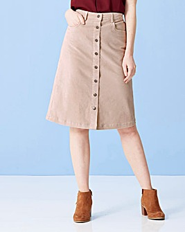 Cord Button Front Skirt
