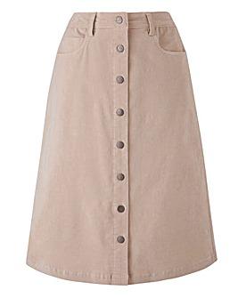 Petite Babycord Button Through Skirt