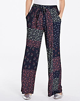 Floral Jersey Wide Leg Trousers Long