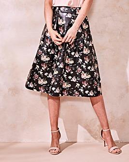 PU Floral Printed Prom Skirt