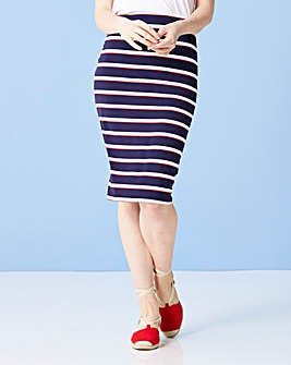 Stripe Knee Length Jersey Tube Skirt