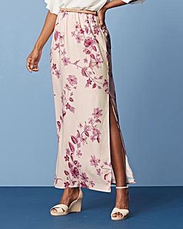 Print Column Maxi Skirt with Side Split