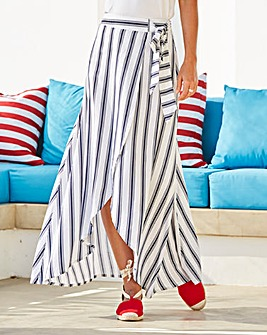 Mock Wrap Tie Waist Stripe Skirt