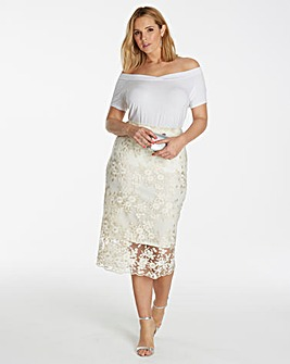 Metallic Lace Midi Skirt