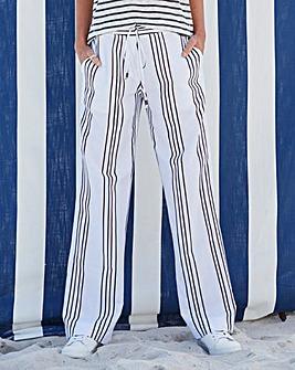 Stripe Linen Mix Straight Trousers Long