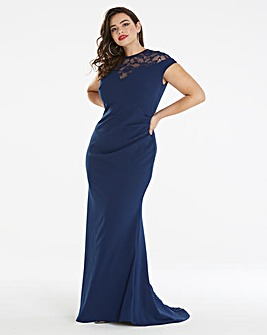 Simply Be by Night Lace Fishtail Maxi