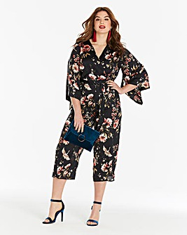 Simply Be Oriental Print Satin Jumpsuit