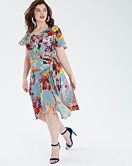 Bright Floral Asymmetric Midi Dress