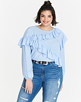 Asymettric Pastel Ruffle Blouse