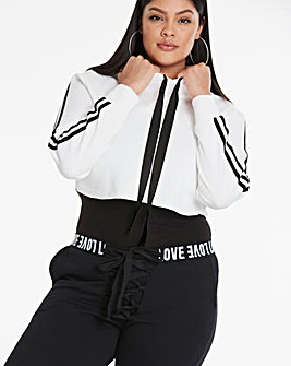 Crop Hoodie With Sports Trim