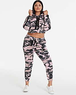 Camo Printed Cropped Hoodie