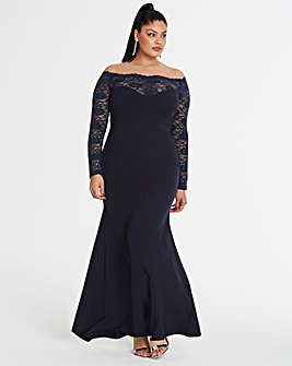Simply Be By Night Bardot Lace Dress