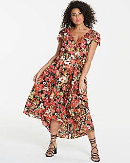 Ax Paris Curve Dip Hem Floral Maxi Dress