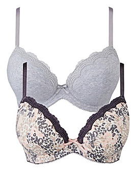 2 Pack Sophie Padded Plunge Wired Bras