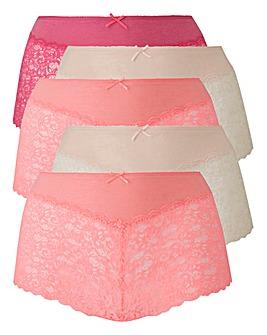 5 Pack Lace Midi Shorts