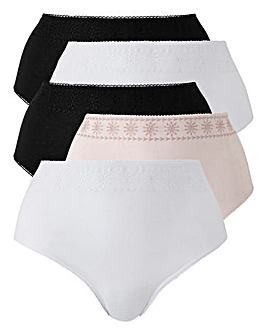 5 Pack Broderie Anglaise Midi Briefs